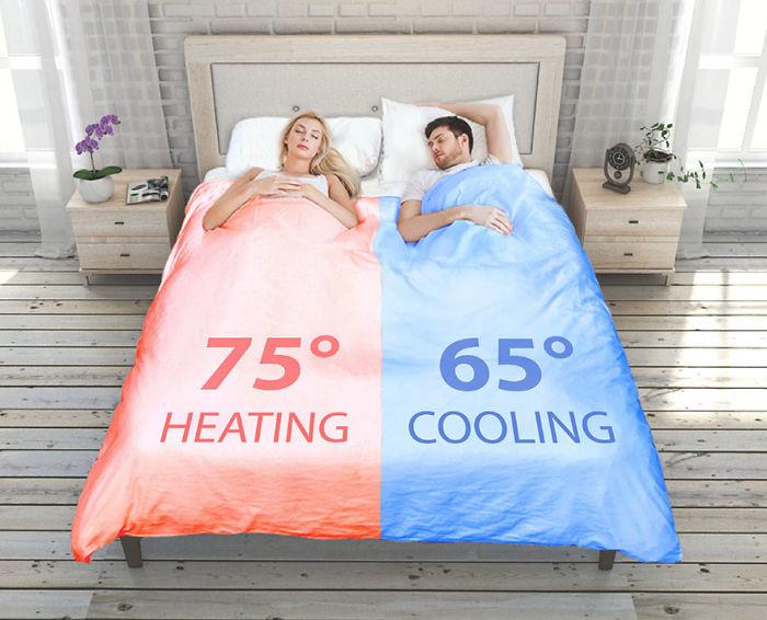 Este edredón permite que las parejas duerman a temperaturas distintas