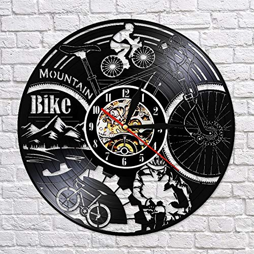 fdgdfgd Clásico Disco de CD Bicicleta Ciclismo Disco de Vinilo Disco Reloj de Pared Creativo 3D Ciclismo Decoración Regalo | Reloj de Pared Luminoso de 7 Colores