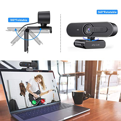 Jelly Comb Webcam 1080p/30fps Enfoque Automático con Micrófono Estéreo, Cámara Web con Tapa de Privacidad para Skype, Videollamada, Streaming De Juegos, Conferencia, PC/Mac/Portátil/Macbook-Negro